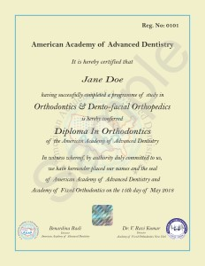 AAAD Diploma In Orthodontics